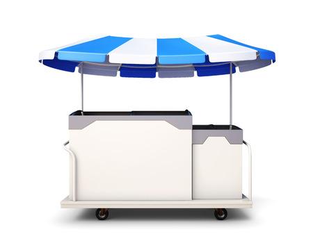 carretto gelati: Ice cream cart isolated on white background. Front view. 3drendering. Archivio Fotografico