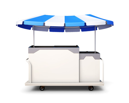 ice cream cart: Il gelato della spesa isolato su sfondo bianco. Vista frontale. 3drendering. Archivio Fotografico