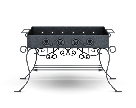 barbecue stove: Front view barbecue grill isolated on white background. Forged elements, ornament. 3d rendering.