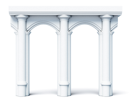 antiquities: Architectural objects columns arches isolated on white background. 3d rendering.