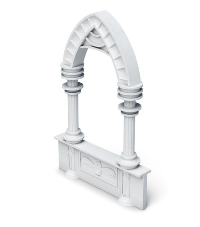 balustrade: Architectural objects columns arch parapet balustrade on white background. 3d rendering.