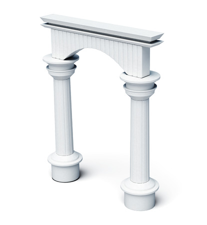 lighting column: Columns and arch isolated on white background. 3d rendering. Stock Photo