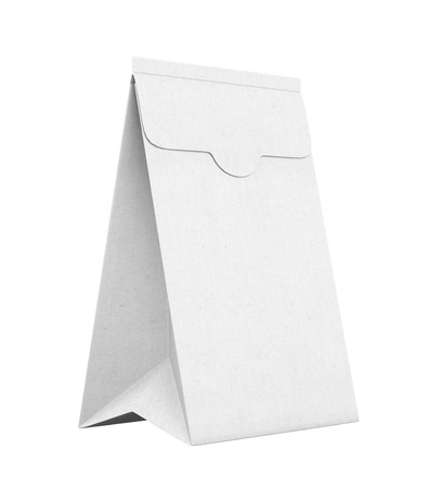 white paper bag: White paper bag isolated on white background. 3d rendering. Stock Photo