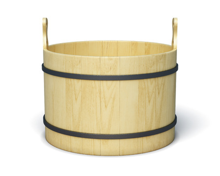 finnish bath: Wooden bucket isolated on white background. 3d rendering.