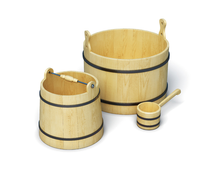 finnish bath: Set for the sauna isolated on white background. Wooden bucket and ladle. Accessories sauna. 3d rendering