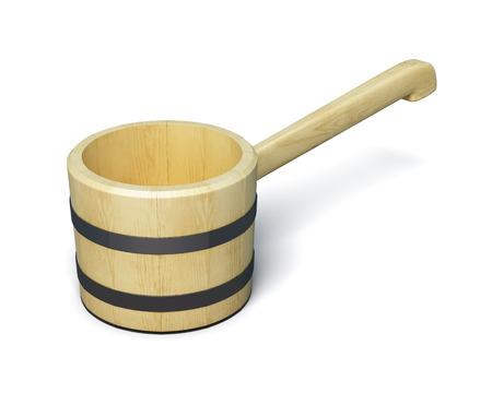 bathe mug: Wooden ladle for sauna isolated on white background. 3d render image.