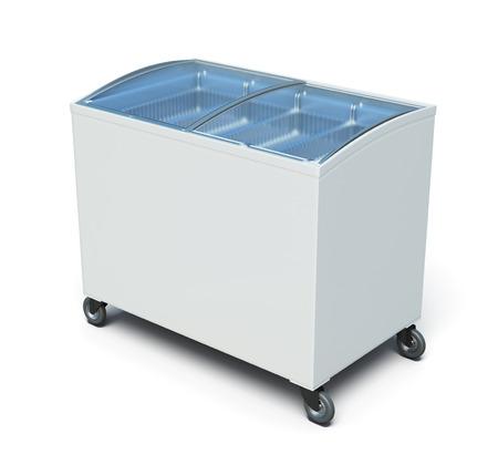 冷凍庫胸の白い背景に分離されました。3 d のレンダリング イメージです。