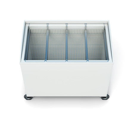 ice chest: Chest freezer isolated on white background. 3d rendering.