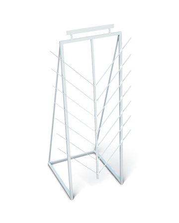 display stand: Display stand for laminate isolated on white background. Advertising stand. Promotion shelf. 3d rendering