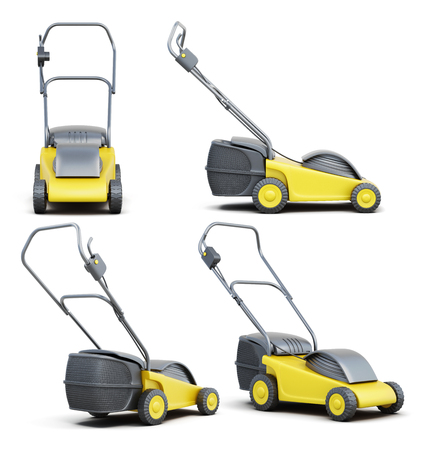 Set of lawn mower isolated on a white background. Electric lawn mower. 3d render image Stock Photo