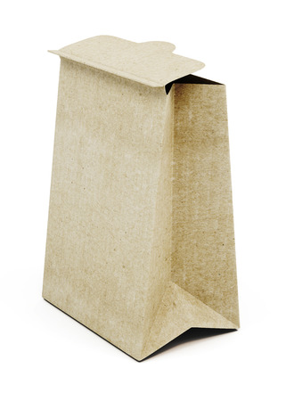 Brown paper bag isolated on white background. 3d render image.