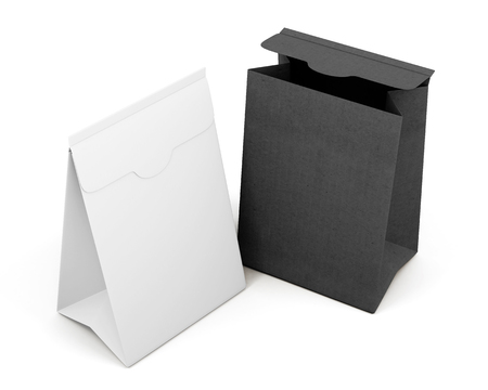Two paper bag isolated on white background. 3d rendering.