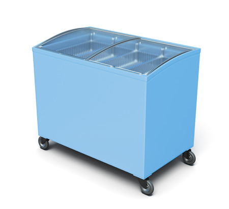 ice chest: Freezer chest isolated on white background. 3d rendering.