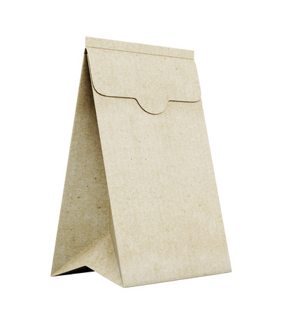 brown paper bag: Brown paper bag isolated on white background. 3d rendering. Stock Photo