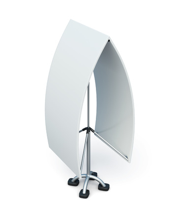 Bilateral advertising stand isolated on a white background. 3d illustration.