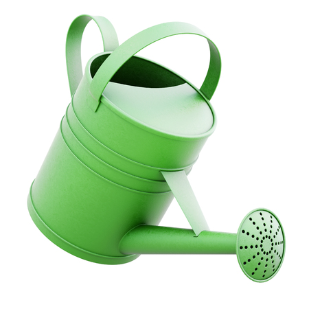 Green watering can isolated on white background. 3d rendering. Banco de Imagens