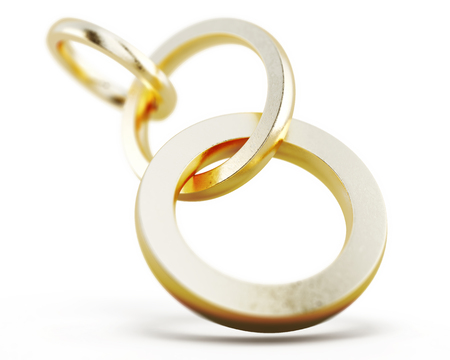 Round chain links isolated on a white background. Conceptual image. Gold rings. 3d render image