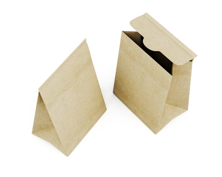 paperbag: Two paper bag top view isolated on white background. 3d rendering.
