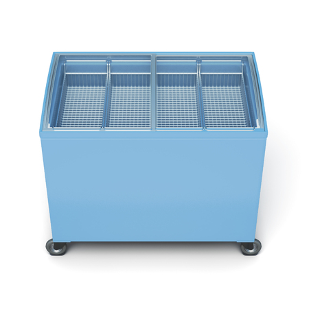 ice chest: Front view freezer chest isolated on white background. 3d rendering.