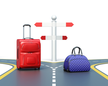 forked: Choice of the way isolated on white background. Two suitcases on the road. Travel concept. 3d rendering