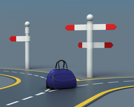 forked road: Travel concept suitcase on road forks. Choice of the way. Suitcase near pointer. 3d rendering
