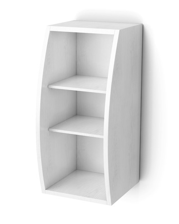 bookcase: Bookcase with shelves isolated on white background. 3d rendering. Stock Photo