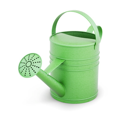 Green metal watering can isolated on white background. 3d rendering. Stock Photo