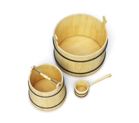 finnish bath: Buckets and ladle isolated on white background. Accessories sauna. 3d rendering Stock Photo
