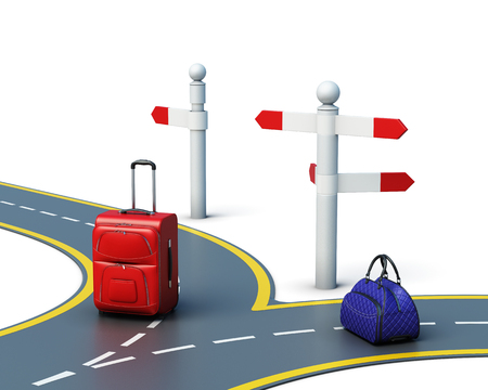 Concept of travel choice isolated on white background. Two suitcases on the road. 3d render image