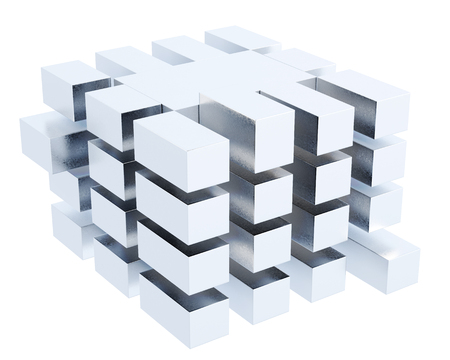 cube box: Abstract cube box isolated on white background. 3d rendering. Stock Photo