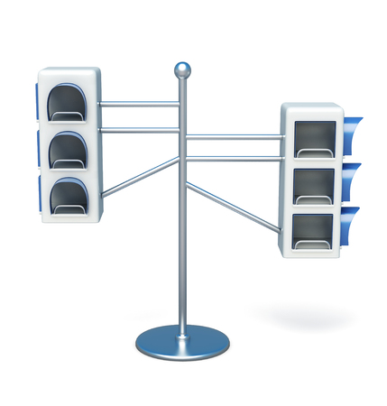 promotional: Advertising information desk front view on white background. Promotional products. For booklets and postcards. 3d rendering
