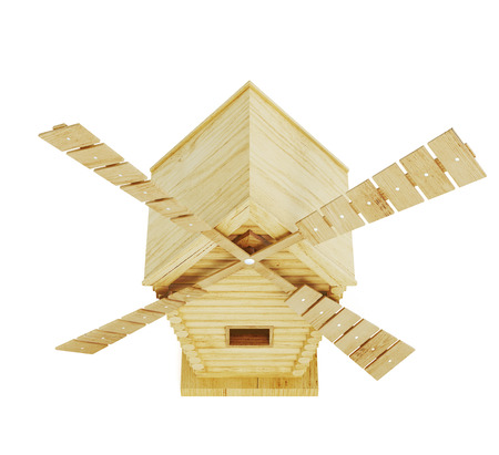 wind mill toy: Wooden windmill isolated on white background. Top view. 3d render image Stock Photo