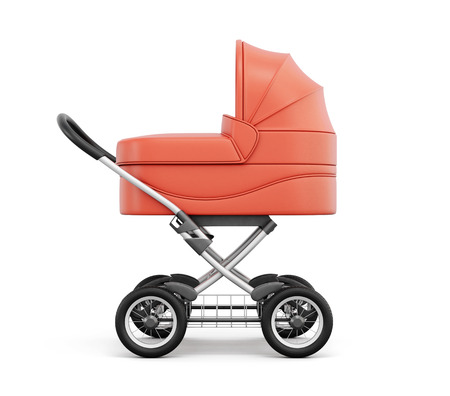 Side view of baby stroller isolated on white background. For boy. 3d rendering. Stock Photo