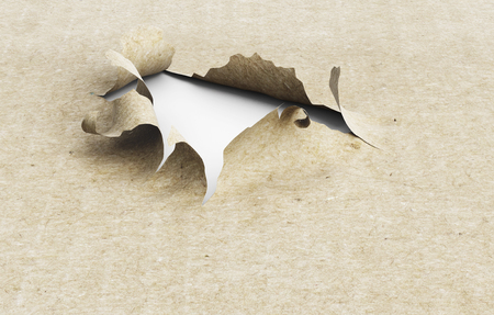 paper hole: Torn paper hole on a white background. 3d illustration. Close-up