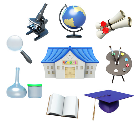 schoolbook: School attributes and school accessories on white background. 3d rendering.