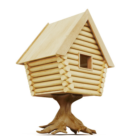 blockhouse: Fabulous hut on a stump isolated on a white background. 3d rendering.