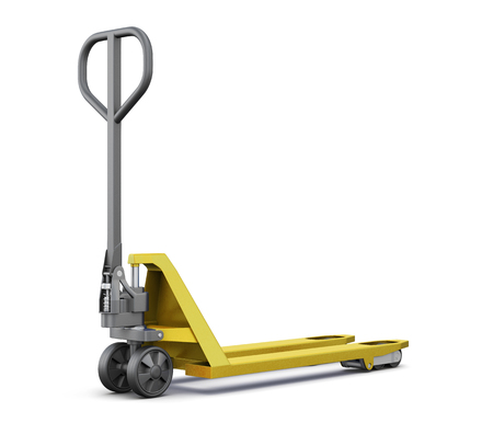 Hand pallet truck isolated on white background. 3d  illustration. Stock Photo
