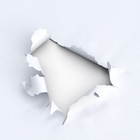 Hole in paper on white background. 3d illustration. Torn edges of paper. Close-up Reklamní fotografie