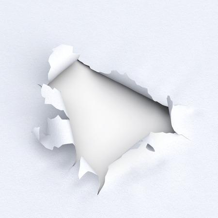 Loch im Papier auf weißem Hintergrund. 3D-Darstellung. Zerrissen Kanten des Papiers. Nahansicht Standard-Bild - 61849067