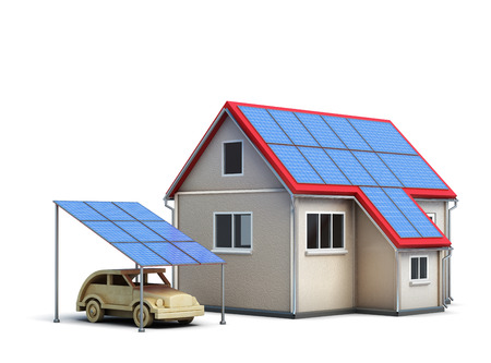energysaving: Eco concept house isolated on white background. Solar panels. Energy-saving technology. Ecology. 3d rendering