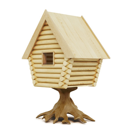 Wooden fairy house on a stump isolated on a white background. Izba, izbushka. 3d rendering