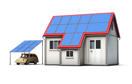 energysaving: Eco concept house isolated on white background. Solar panels. Energy-saving technology. Ecology. 3d render image Stock Photo