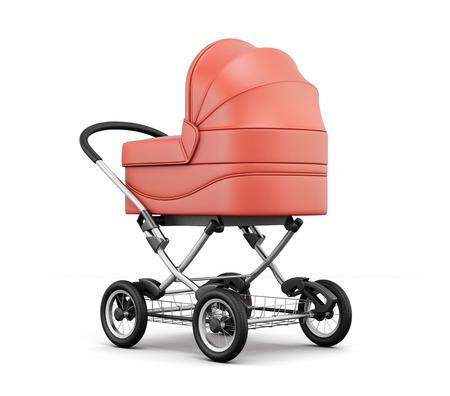 nursing mother: Retro baby stroller isolated on white background.  For boy. 3d rendering.