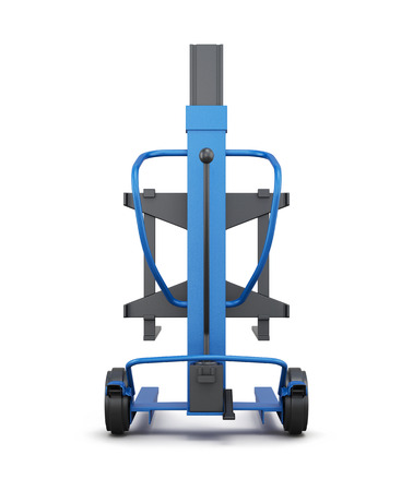 counterbalanced: Blue loader isolated on white background. 3d illustration.  Rear view. Stock Photo