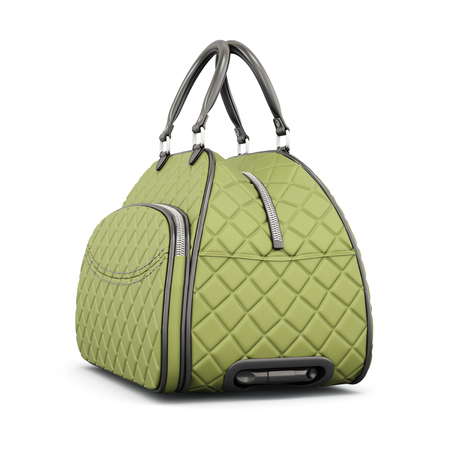 quilted: Road quilted bag isolated on white background. 3d rendering. Stock Photo