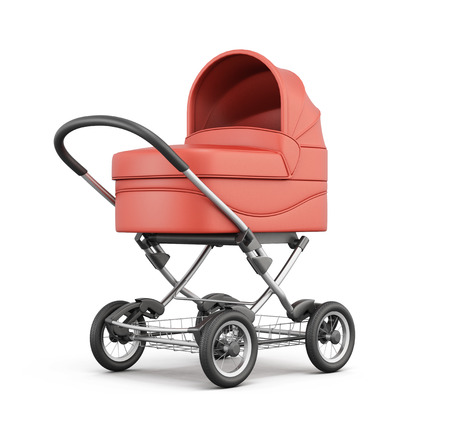 Red baby stroller isolated on white background. For boy. 3d rendering.
