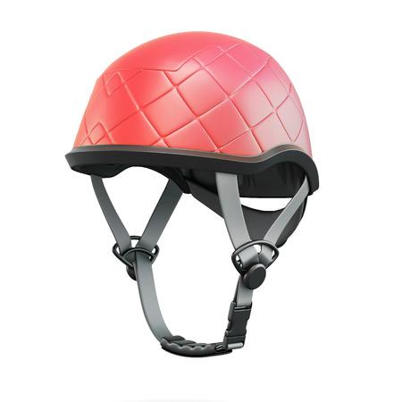 casco rojo: Red helmet isolated on white background. 3d rendering. Foto de archivo