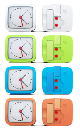 mechanical back: Set of colored alarm clocks on white background. 3d rendering. Stock Photo