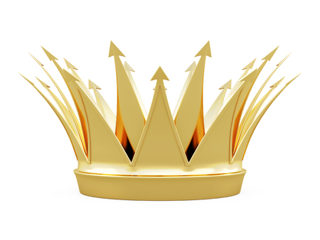 Crown front view isolated on white background. 3d rendering.