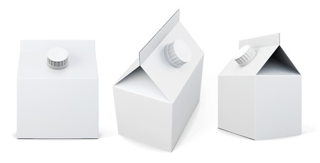 gable: Packing for milk from different angles on a white background. 3d rendering.